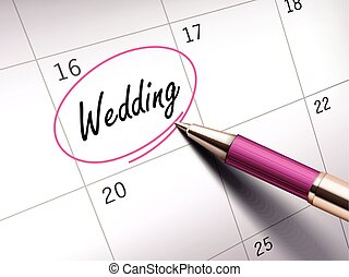wedding word marked - wedding word circle marked on a...