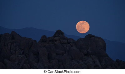 Alabama Hills California Landscape - Large Moon Rising over...
