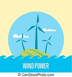 Wind power banner. Eco energy generation