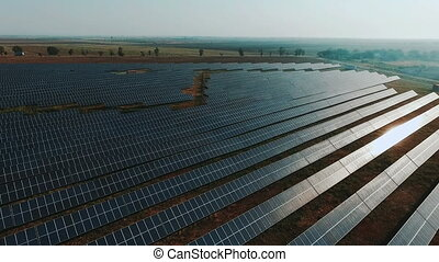 aerial view Solar panels Photovoltaic system bird's-eye...