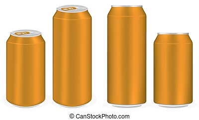 brown aluminium soft drink cans vector