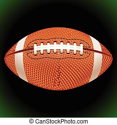 Vector American football ball on a black background