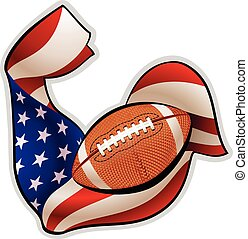 American football emblem - Brawny hand in colors of American...