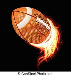 Vector flying flaming American football ball on a black...
