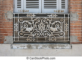 Window in Toulouse - Window with blue shutters and ornate...