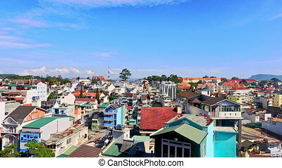 Upper View of Tropical City with Colorful Buildings - DA...