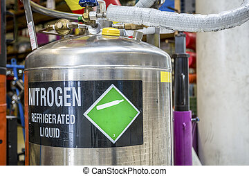 Nitrogen. Refrigerated liquid. - Container of nitrogen....