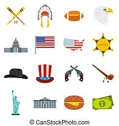 USA icons set, flat style - Flat USA icons set. Universal...
