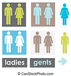 Restroom signs - a set of restroom signs in alternative...