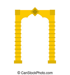 Yellow arch icon, flat style