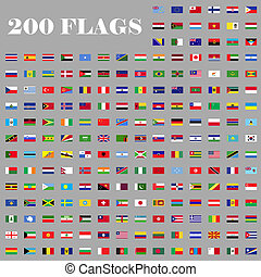 200 Flags set of the world - 200 flags set. Universal flags...