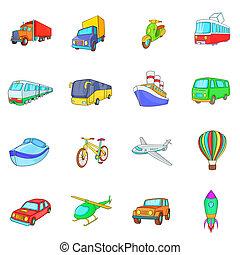 Transport icons set, cartoon style - Cartoon transport icons...