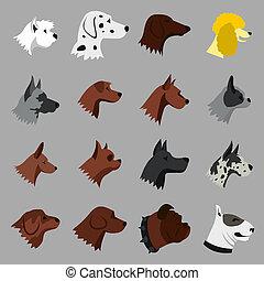 Dog icons set, flat style - Flat dog icons set. Universal...