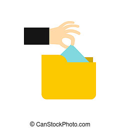 Hand stealing e-mail icon, flat style - Hand stealing e-mail...