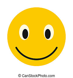 Smiley face icon, flat style - Smiley face icon in flat...