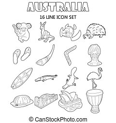 Australia icons set, outline style - Outline Australia icons...