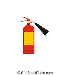 Fire extinguisher icon, flat style - icon in flat style on a...