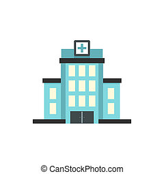 Hospital building icon, flat style - icon in flat style on a...
