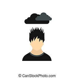 Depressed man with dark cloud over his head icon - icon in...