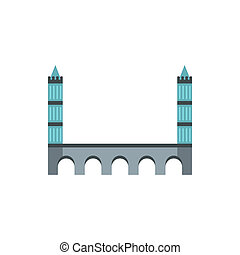 Tower bridge icon in flat style - icon in flat style on a...