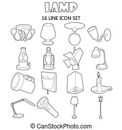 Lamp icons set, outline style - Outline lamp icons set....