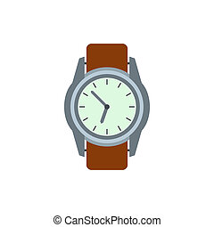 Wrist watch with brown leather strap icon