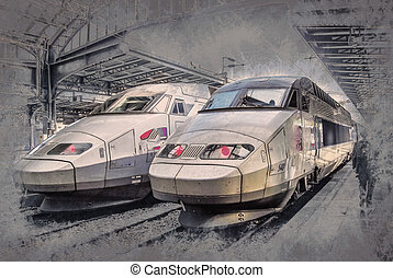 SNCF TGV trains on Northern train station, Gare du Nord -...
