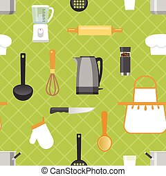 Kitchen Seamless Pattern - Kitchen seamless pattern with...