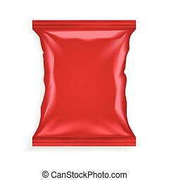 Red Plastic Bag - Realistic red plastic bag with shadows and...