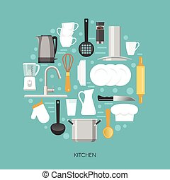 Kitchen Round Composition - Kitchen round composition with...