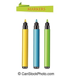 Three felt-tip pens on a white background. Vector...
