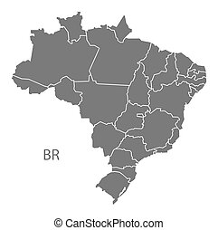 Brazil Map with districts grey