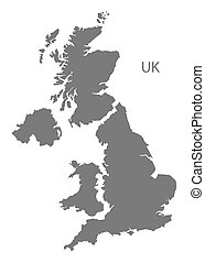 United Kingdom Map grey