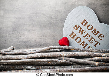 Home Sweet home Interior decor Rustic heart - Motivational...
