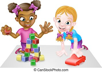 Girls Playing with Blocks and Toy Car
