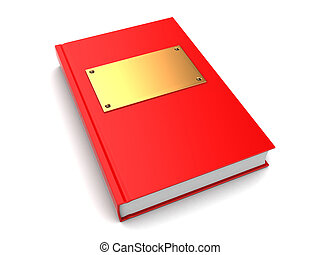 3d book - 3d illustration of book with golden plate on cover