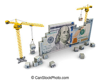 cranes and money - 3d illustration of two cranes building...