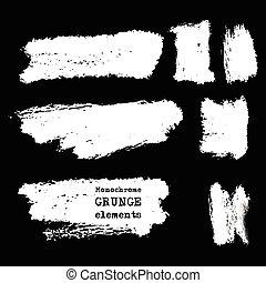 Vector set of black brush strokes. - Vector set of white...
