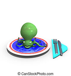cute and funny sepia animal served on a dish as a meal. 3D rendering with clipping path and shadow over white