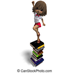 cute little cartoon school girl with many books. 3D rendering with clipping path and shadow over white
