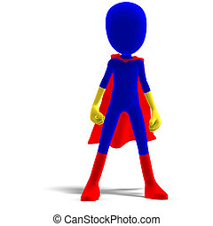 symbolic 3d male toon character as a super hero 3D rendering...