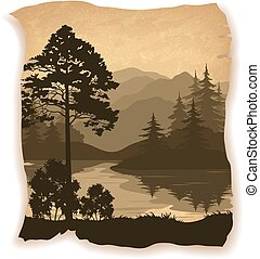 Landscape, Trees, River and Mountains Silhouettes on Vintage...