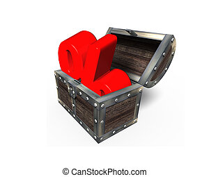 Red percentage sign in treasure chest, 3D rendering