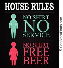 House rules - funny inscription template