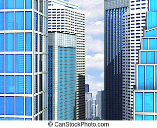 Modern glass building of skyscrapers in the city. 3d...
