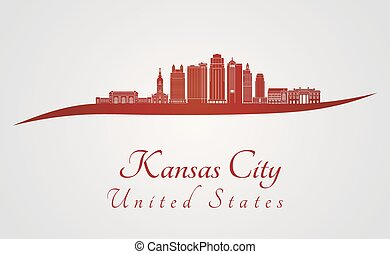 Kansas City V2 skyline in red - Kansas City skyline in red...