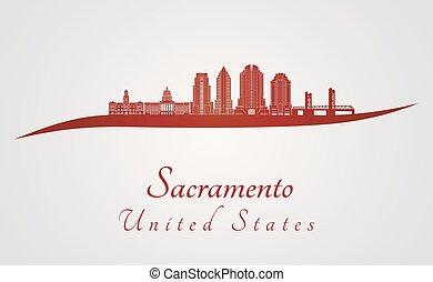 Sacramento V2 skyline in red - Sacramento skyline in red and...