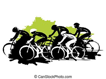 Road cycling racers. - Expressive stylized illustration of...
