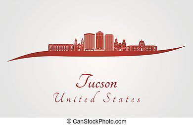 Tucson V2 skyline in red - Tucson skyline in red and gray...