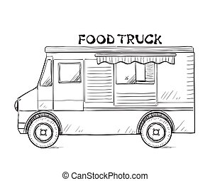 Hand drawn food truck. Delivery service sketch